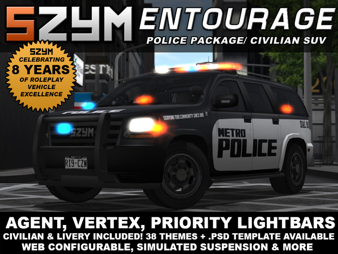 SZYM Entourage Police Car/ Civilian SUV