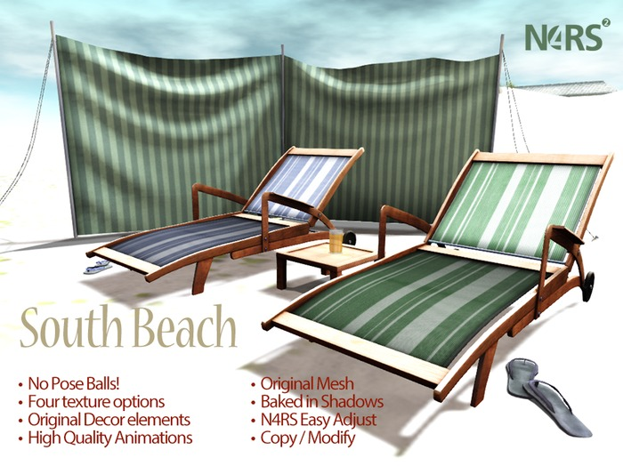 N4RS South Beach Lounger - PG - with 28 High Quality Animations and original rez props and decor items