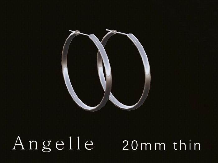 Angelle 20mm hoop earrings ~ silver ~ thin ~