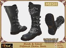 [Drac] Mesh Men's Black & Silver Defiance Chain Boots (+Resizer)