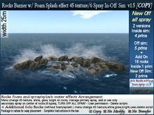 v1 25m Rocks Barrier In / Off sim with sea foam. Change 45 text,glow 6 spray + reef add rock. COPY