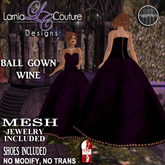 LC DESIGNS - BALL GOWN W/HIGH SLINK SHOES + JEWELRY -WINE