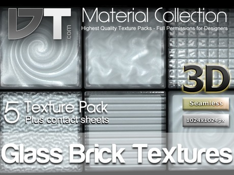 5 Glass Brick Textures - Full Perm - DT Material Collection