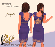 .:: 2 the 9's ::. Rhona Pencil Dress - Embroidered Purple