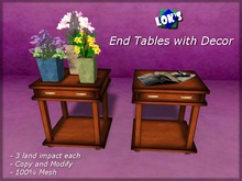 Lok's End Tables with Decor in 4 Woods