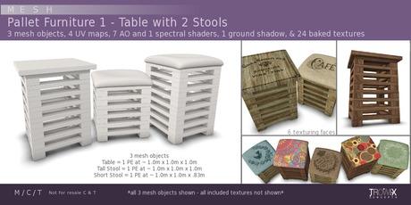 Trowix - Pallet Table & 2 Stools Mesh Pack