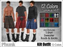 [Phunk] Mesh Men's Kilt Outfit (12 Colors)