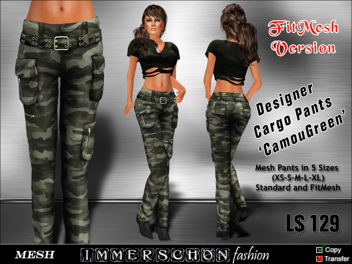 Immerschoen Girl - MESH Cargo Pants 'CamouGreen' DEMO