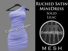 *ED Mesh Ruched Satin Solid Lilac Single Shoulder Mini Dress with Angled Skirt