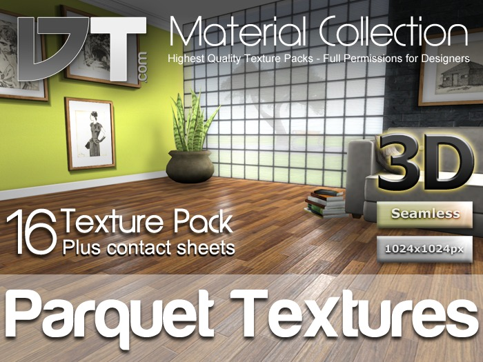 16 Parquet Wood Floor Textures - Full Perm - DT Material Collection
