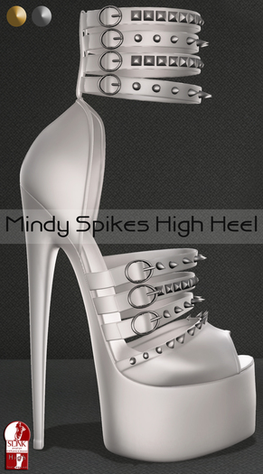 Bens Boutique - Mindy Spikes High Heel (slinkhighfeet) White
