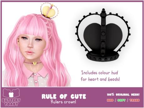 .: Buttery Toast:. The Rule of cute - Crown - Black - 100% original mesh