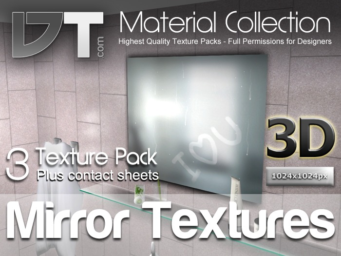 3 Mirror Textures - Full Perm - DT Material Collection