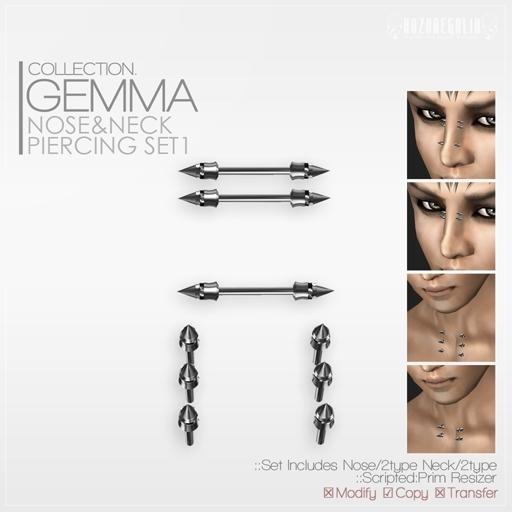 +ROZOREGALIA+*Gemma*Nose&Neck Piercing Set1