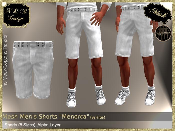 "*N & B Design* Mesh Men's Shorts ""Menorca"" (white)"