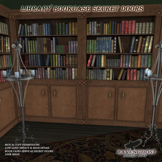 Library Bookcase & Secret Door Set (3LI)