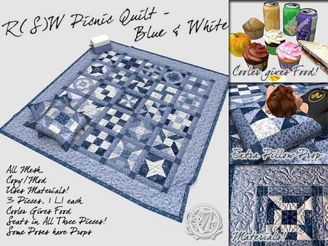 R(S)W Picnic Quilt - Blue & White