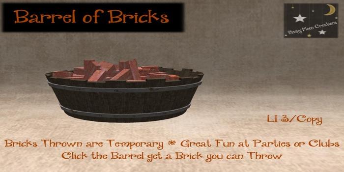 ~Sleepy Moon~ Barrel~O~Bricks thrower gives brick (boxed)