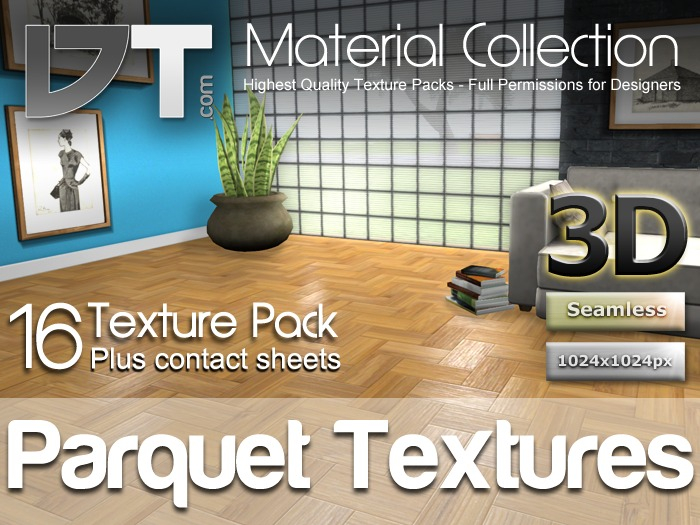 16 Herringbone Parquet Wood Floor Textures - Full Perm - DT Material Collection