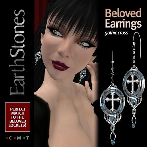 EarthStones Beloved Earrings - Gothic Cross Earrings tagGoth tagVampire