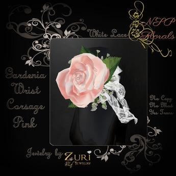 NSP Gardenia Wrist Corsage (BLK Mauve)