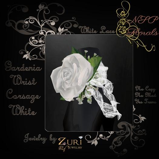 NSP Gardenia Wrist Corsage (W White) boxed