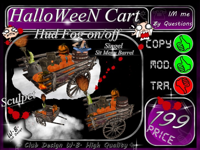 ** Halloween Cart * & * Hud Fog on/off * Sit Menu Barrel *
