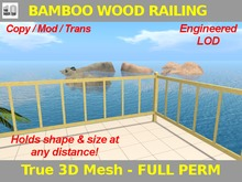 FULL PERM Saw-Cut Bamboo Wood Grain Railing Set. Mesh w/ Engineered LOD.