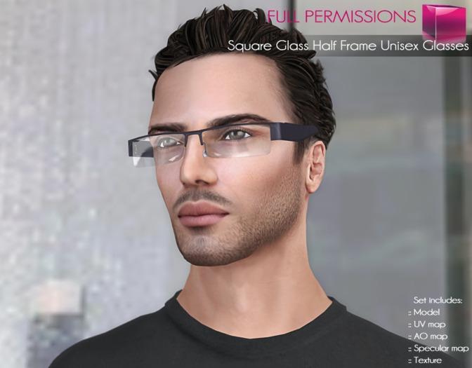 Full Perm Mesh Square Glass Half Frame Glasses