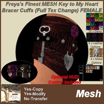 Freya's Finest MESH Key To My Heart Bracers Female - Full Texture Change