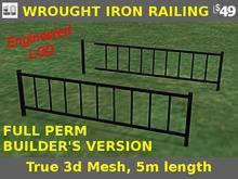 FULL PERM Black Metal Railing Set / Wrought Iron. Mesh w/ Engineered LOD.