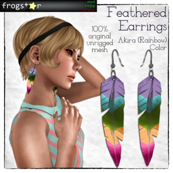 Frogstar - Akira (Rainbow) Feathered Earrings