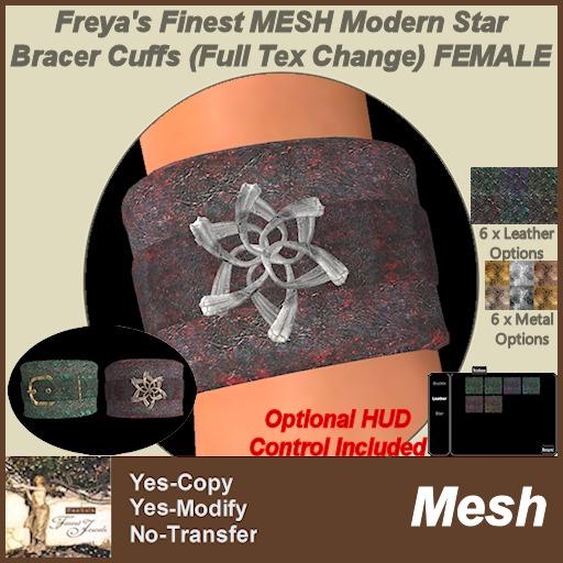 Freya's Finest MESH Modern Star Pair of Bracer Cuffs FEMALE