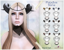 LUAS MALEFICA HORNS BLACK mesh headpiece