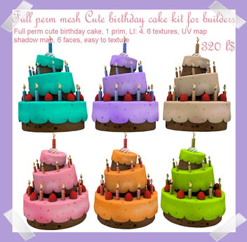 Brilliant Second Life Marketplace Full Perm Mesh Cute Birthday Cake Kit Personalised Birthday Cards Veneteletsinfo