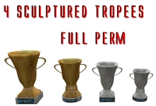 4 full perm sculptured cups - trofees - troffees - bekers