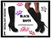 *MD* Black Boots - w/paw foot print