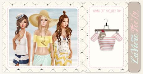 Tee*fy Gianna Off Shoulder Top Stripes/Pink
