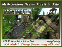Mesh Seasons Dream Forest with Hud 159 Prim 48x48m Size c-m