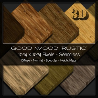 Good Wood 'Rustic' 3D Material Maps V2 -  Diffuse Normal Specular