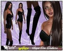 **SD** -Alane - ( mesh Outfit ) Corset Pants-High Heels Boots - Black
