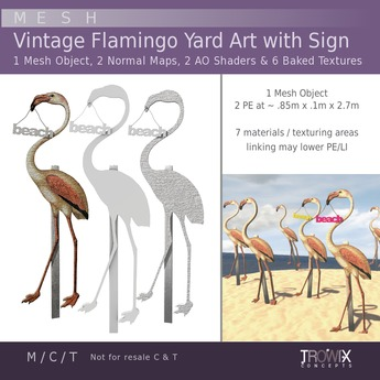 Trowix - Vintage Flamingo Yard Art w/ Sign Mesh Pack