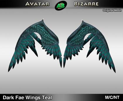 AB Dark Fae Wings Teal