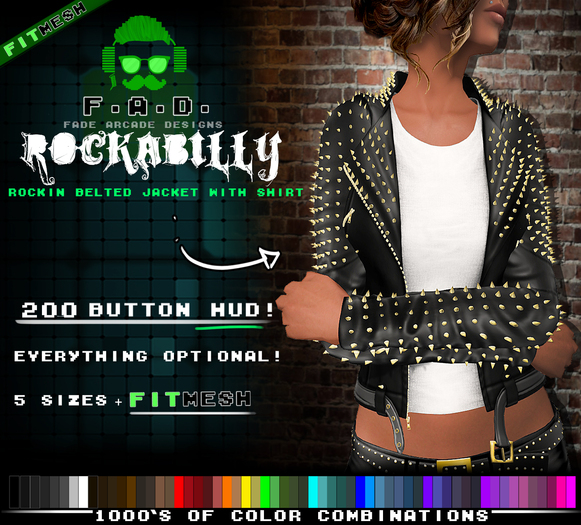 F.A.D. // Rockabilly Retro Studded Leather Jacket -  FitMesh/Materials
