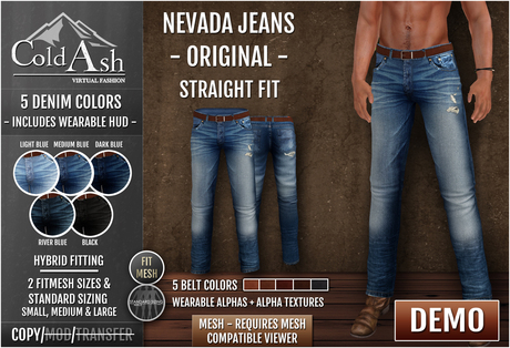 {COLD ASH} DEMO Mens NEVADA Jeans (Mesh) -StraightFit(Original)