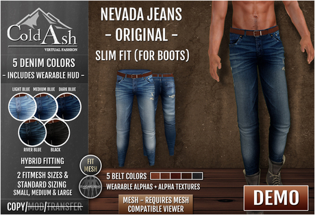 {COLD ASH} DEMO Mens NEVADA Jeans (Mesh) - Slim Fit (Original)