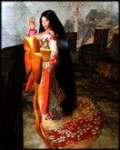 CCO's The Casual Lady In Orange - A Furisode Kimono At A Special Price
