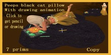 peeps black cat drawing pillow