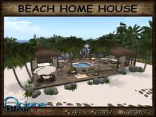 Beach Home House Tiki Gazebo / Terrace with Furniture,Palms,Plants & Deco