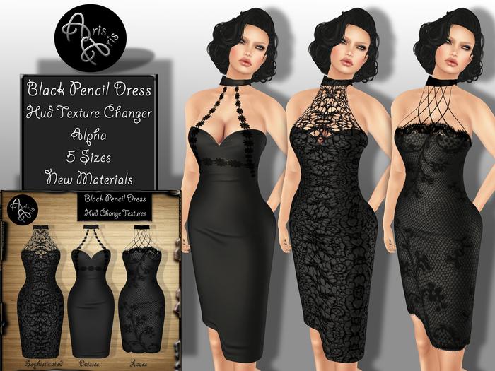 ***ArisAris AA58 Black Pencil Dress~Hud texture change